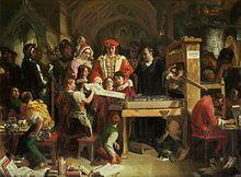 William Caxton montrant un 1° tirage de son imprimerie au roi Edouard IV, à l'Aumônerie de Westminster (tableau de Daniel Maclise 1851). - Caxton commence à traduire le Recueil des histoires de Troie, de Raoul Le Febve (chapelain du duc de Bourgogne) et le termine à Cologne où, de 1470 à 1472, il s'initie à l'imprimerie auprès de Colas Mansion. Il imprime ce 1° livre anglais sur sa presse à Bruges en 1474. Il traduit ensuite du français un traité allégorique: The Game and Playe of the Chesse