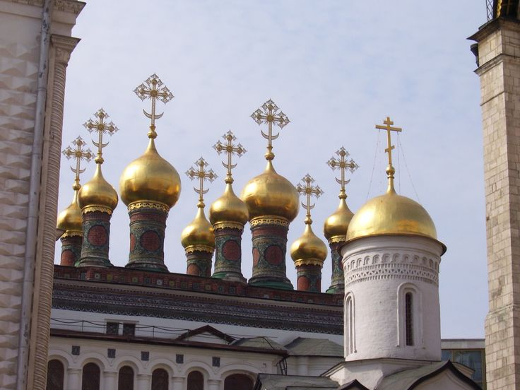 Beautiful monastery behind city wall in Moscow