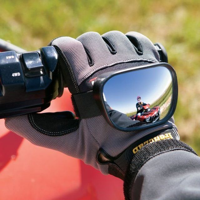 Strap these vibration-free mirrors on the backs of your hands to improve rear visibility. Microadjustable Velcro® strap for a custom fit. Won't interfere with hand movements. Convex safety lens Rearview mirrors for ATV, motorcycle or bicycle riders Vibration-free Adjustable fit