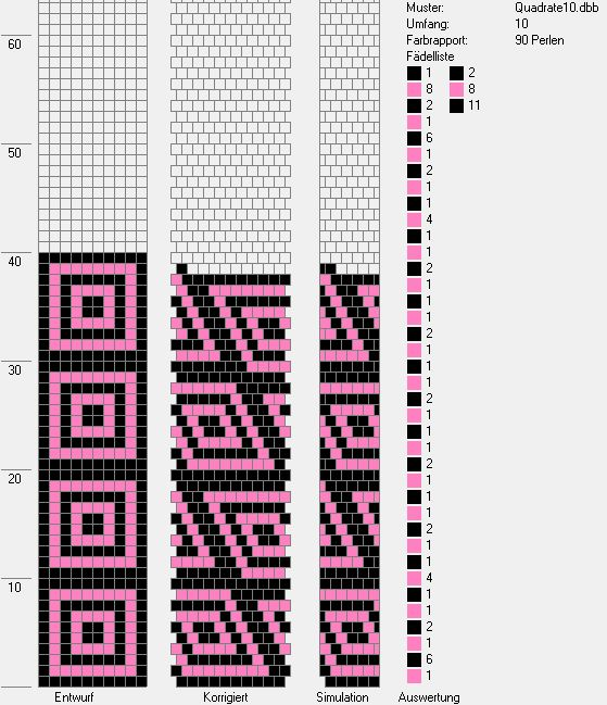 Muster Häkelkette  Umfang 10 Quadrate rosa, schwarz crochet bead rope pattern