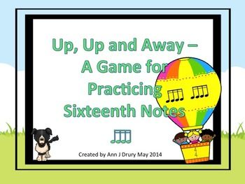 This balloon themed fly-swatting listening activity is for practicing the rhythmic concept of sixteenth notes (ti-ka-ti-ka). Other rhythms include the quarter note (ta), paired eighth note (ti-ti) and the quarter rest (ta rest). The first set of 16 slides have one rhythmic pattern per slide for you to prepare your students before playing the game. The next set of 12 slides each have two rhythmic patterns per page. The third set of 6 slides each have four of rhythmic patterns per page.