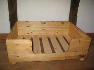Wood dog bed, deep, pine, handmade