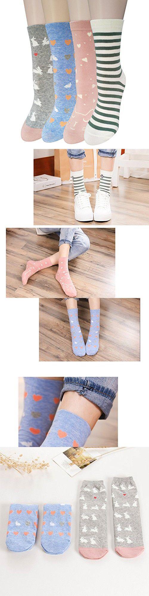 4 Pairs Womens Cute Animal Socks, Fun and Cool 100% Cotton Art Socks