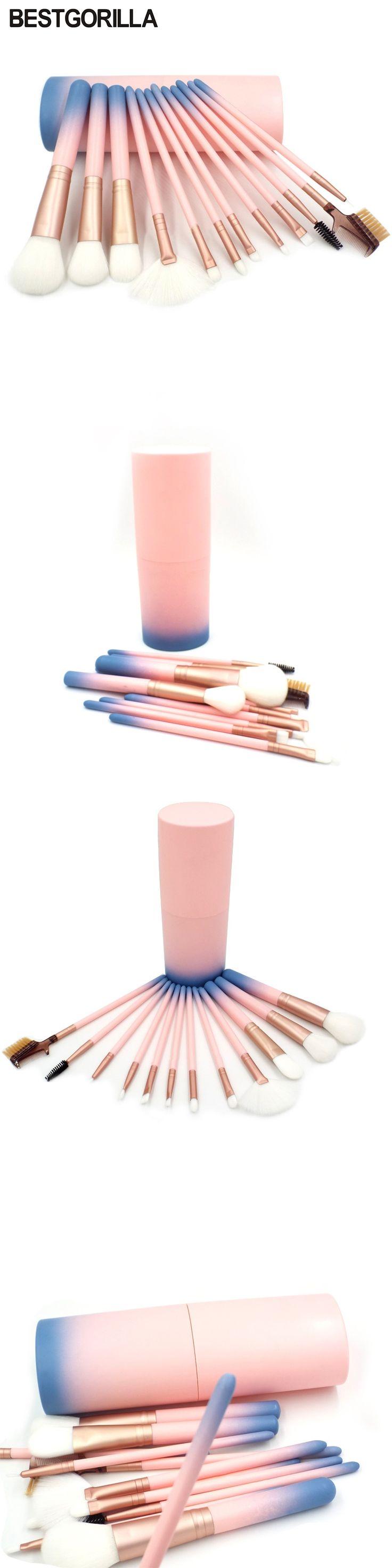 BESTGORILLA best Professional 12pcs makeup brush  Beauty tools 12 makeup brush Sets Cylinder Gradient handle with eyebrow brush