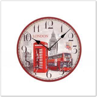 Fa falióra londoni Big Ben, double decker londoni busz és londoni telefonfülke mintákkal