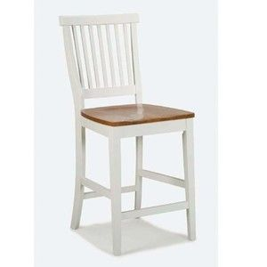 Home Styles 5002-89 White and Distressed Oak Finish Bar Stool, 24-Inch