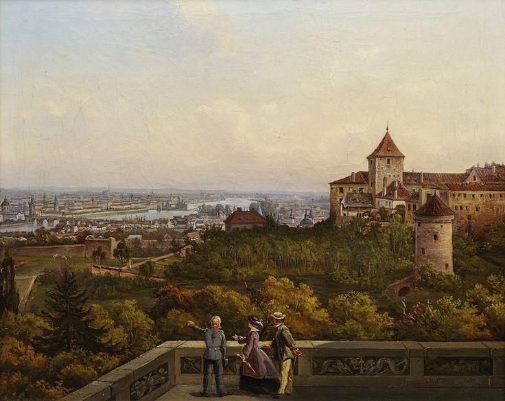 ANTONÍN MÁNES (1784-1843) Pohled na Prahu zBelvederu | 1. třetina 19. století, olej, plátno, 33,5 × 39,5 cm