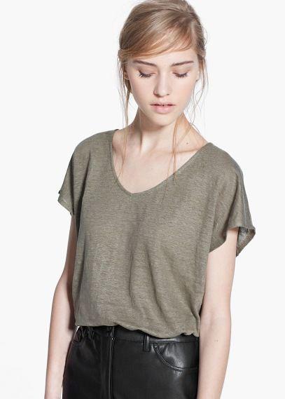 Camiseta lino - Camisetas de Mujer | MANGO Outlet España