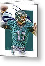 Carson Wentz Philadelphia Eagles Oil Art Greeting Card by Joe Hamilton