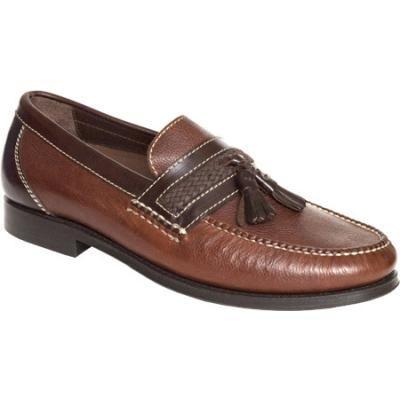 $224, Dark Brown Leather Tassel Loafers: Neil M Fairbanks Walnut Leather  Tassel Loafers.