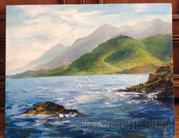 Море Изображение пейзажа море и горы