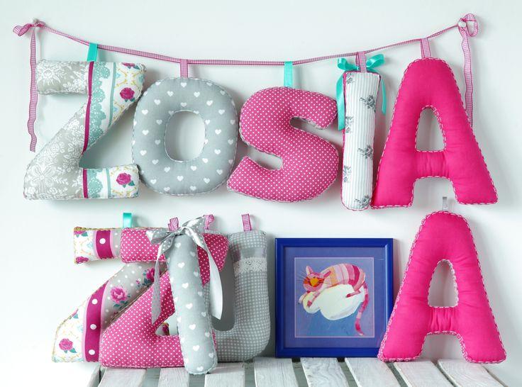 ...szyte literki...letters... rękodzieło handmade letters kinderzimmer dekoracje dziecięce