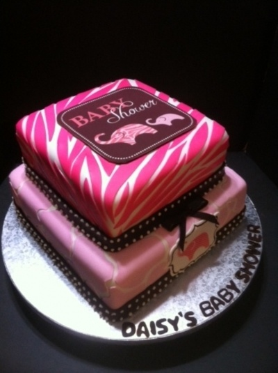 Pink Safari Baby Shower Cake (loveee This)