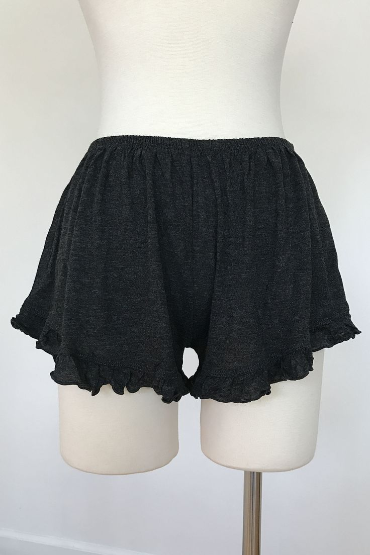 Soft and lightweight ruffle trim shorts that is perfect for any hot summer day's outfit. Also available in black.