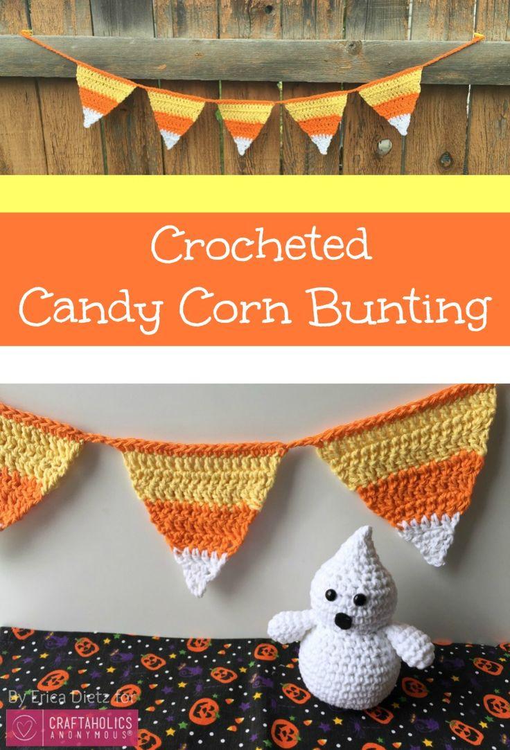 DIY Crochet Candy Corn free crochet pattern + banner tutorial. Cute Halloween crafts idea and fall decor.
