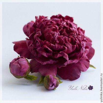 В ПРОДАЖЕ! Брошь с пионом - брусничный,малиновый,брошь с цветком,пионы