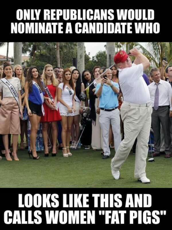"""Only republicans would nominate a candidate who looks like this and calls womean """"fat pigs"""" Dump Trump"""