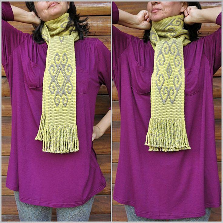 Long yellow scarf, mapuche design, sheep wool, boho chic, artisanal handmade, slow fashion, rustic fashion, handloomed, warm and nice de TelaresNUEVOMUNDO en Etsy