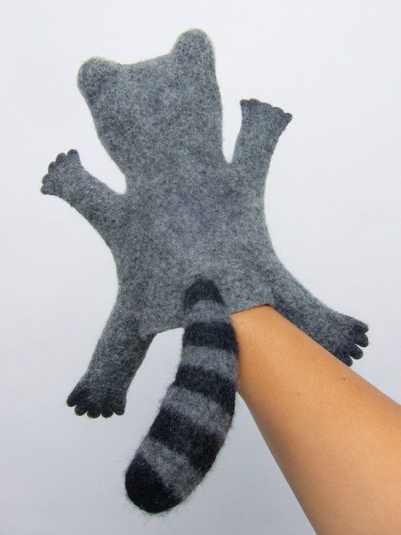 the raccoon hand puppet wet felted MADE TO ORDER