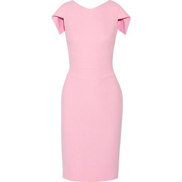 Antonio Berardi Stretch-crepe dress ($1,205) ❤ liked on Polyvore featuring dresses, pink, pink dress, slim fit dress, zip dress, draped dress and slimming dresses