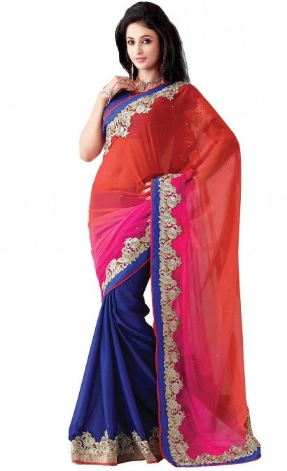 Aparnaa Red & Blue Pure Georgette Pallu and Skirt With Dhupion Blouse