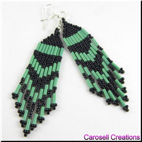 Pretty Classic Chandelier Beaded Earrings TAGS - Jewelry, Earrings, Dangle, native american, carosell creations, glass, seed beads, green, black, weaved, woven, pierced, accessories, belly dancer, bugle, fringe, indian, peyote, brick stitch, off loom, bead works, beaded, chandelier, women, southwestern, tribal, traditional