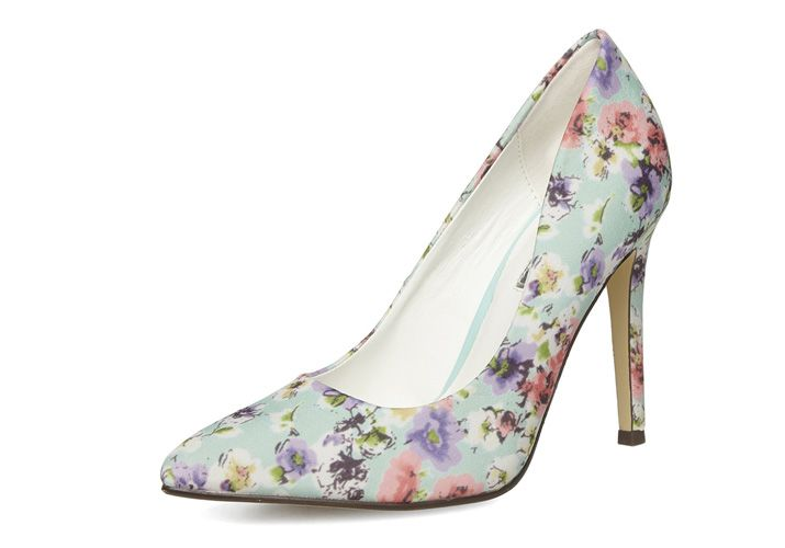 Dorothy Perkins mint floral court shoes