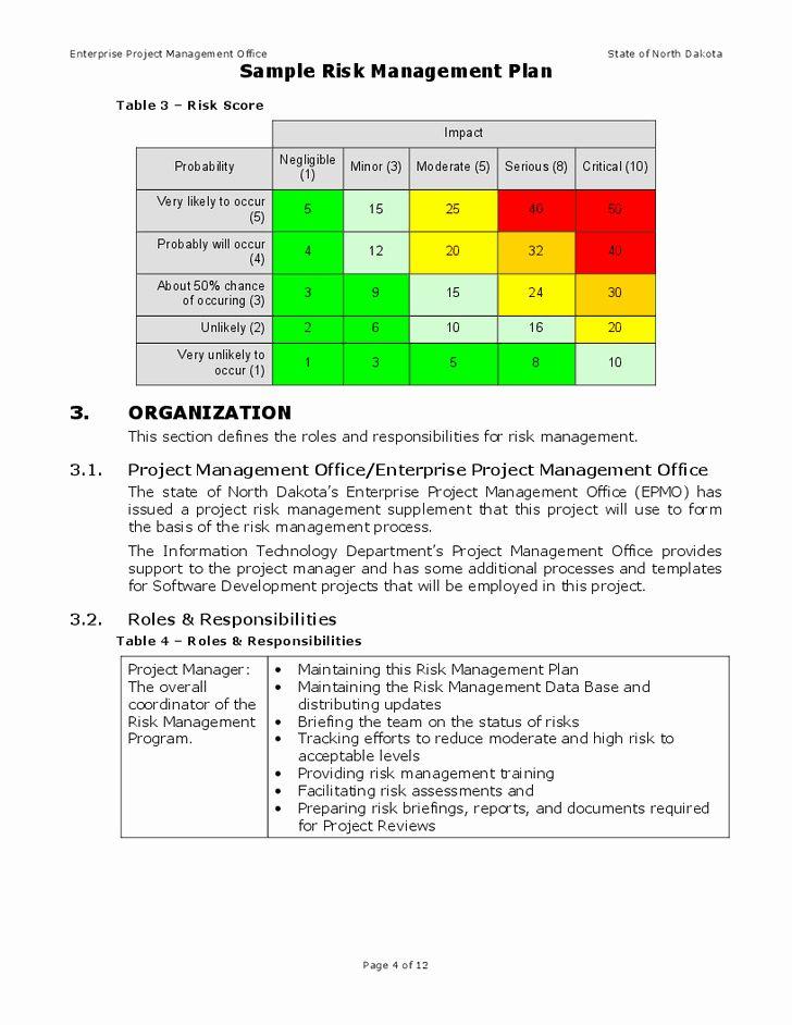 Risk Management Plan Template Doc Elegant Risk Management Plan