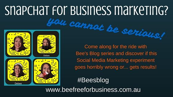 Business marketing... with Snapchat...what kind of crazy is this? Bee's Blog social media experiments with marketing using this platform...how brave!!!