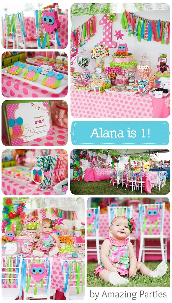 Owl Party by Amazing Parties- LOVE all these bright colors & especially love the different patterns & colors on the hanging decorations by the #1 for Karman