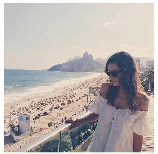 Paul Wesley taking pic of  Phoebe Tonkin in Brazil