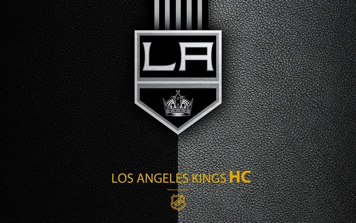 Download wallpapers Los Angeles Kings, HC, 4K, hockey team, NHL, leather texture, logo, emblem, National Hockey League, Los Angeles, California, USA, hockey, Western Conference, Pacific Division