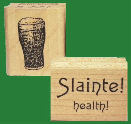 Irish Cheers Rubber Stamp Set St. Ireland Travel Craic by Triskelt