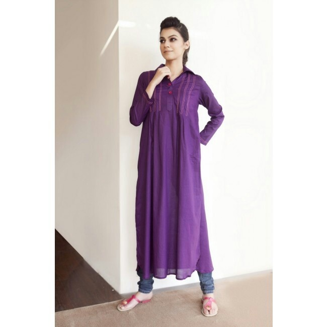 Purple Kurtha with pleats  Item code: CS13P01