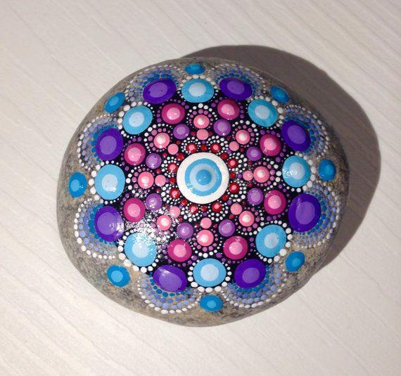 Big Dot Art Mandala Painted Stone Fairy Garden Blue Gift  Decoration Painted rock Beachstone Blue