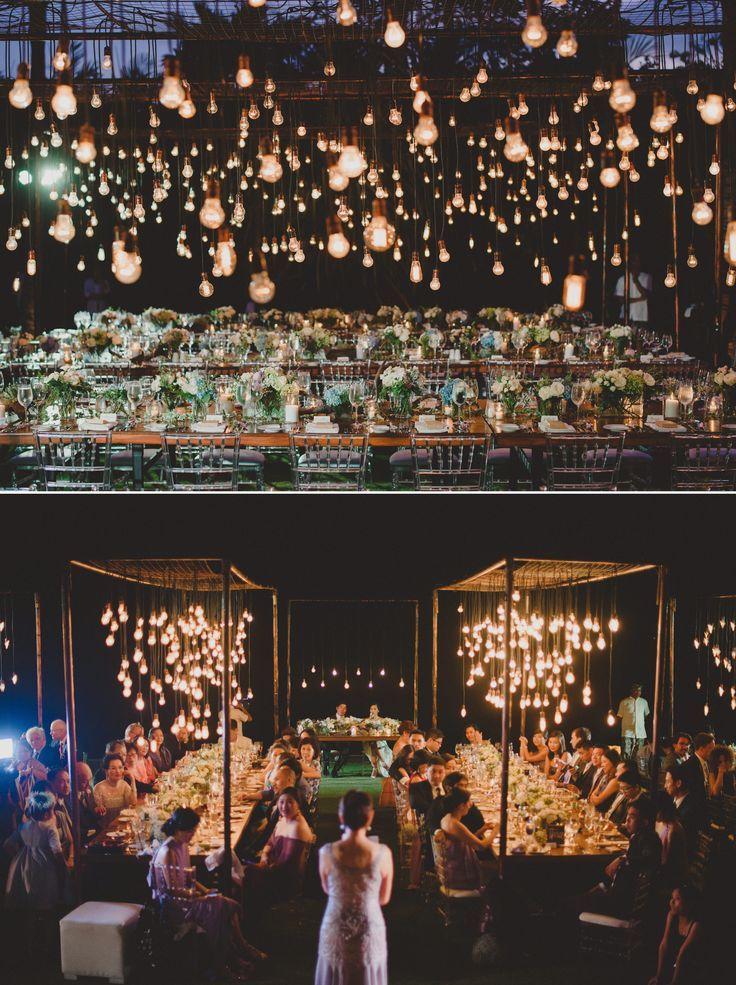 Hanging lightbulbs at Semara Uluwatu Villa #bali #wedding // Photos by Terralogical {Facebook and Instagram: The Wedding Scoop}