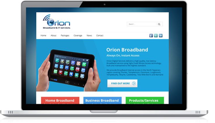 """Orion Broadband are an Irish owned company, established in 2008 specializing in Wireless Broadband. Their aim is to """"provide both residential and business customers with reliable, affordable, high speed wireless broadband"""". The design we developed for Orion broadband can be seen in..."""