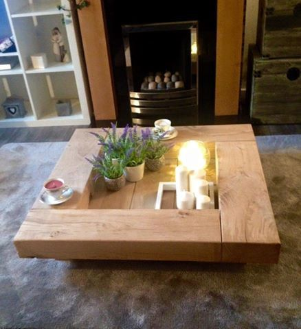 Oak sleeper Coffee Table. wooden coffee table table by Fretwells
