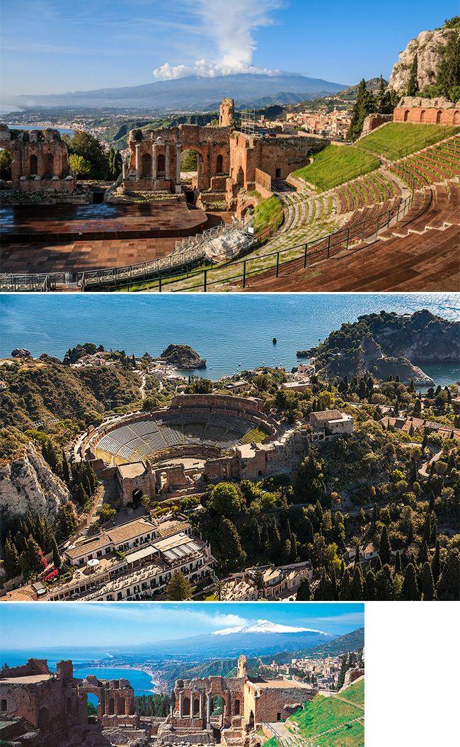 As ruínas do Teatro Grego de Taormina, na Itália, datam do século III antes de Cristo. A construção é cheia de história e fica acima das famosas praias da ilha e ainda oferece uma vista de tirar o fôlego para o mar Mediterrâneo e o vulcão Etna.