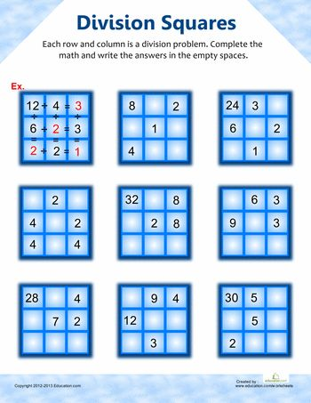 3rd Grade Division Worksheets #math #school