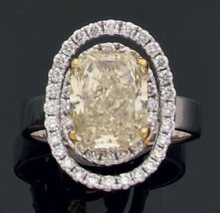 Bague en or jaune et gris sertie d'un très beau diamant «Fancy» de taille moderne de forme coussin dans un double entourage ajouré de diamants de taille brillant. Tour de doigt:58 Poids brut : 8gr Diamant… - Aguttes - 21/03/2013