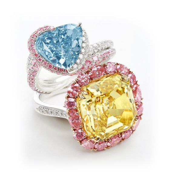 Sotheby's Hong Kong Magnificent Jewels and Jadeite Spring Auction: 3.04-carat heart-shaped blue diamond ring and 13.10-carat fancy vivid yellow diamond ring http://www.sothebys.com/en/auctions/2013/magnificent-jewels-and-jadeite-hk0462/exhibitions.html