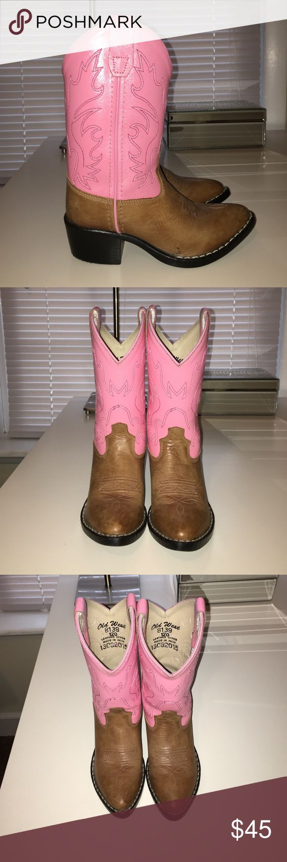 Kids cowboy boots worn twice genuine leather Cowboy boots old west Shoes Boots