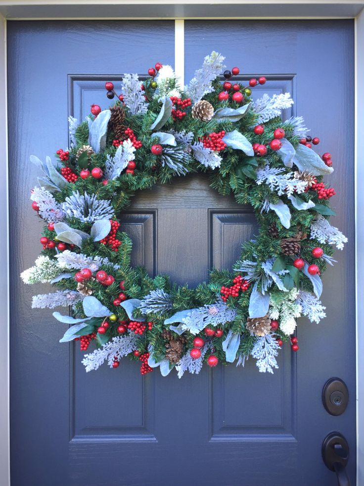 Large Christmas Wreath, Red White Green Wreath, Holiday Decor, Large Door  Wreaths,