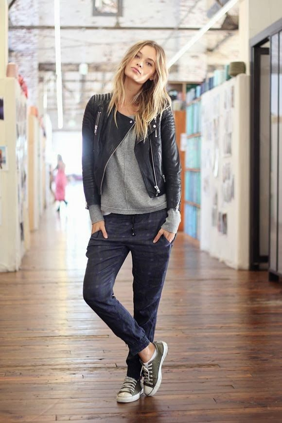 tomboy chic: CAbi moto jacket, edge tee or shrunken sweatshirt and Bianca plus a pair of converse.