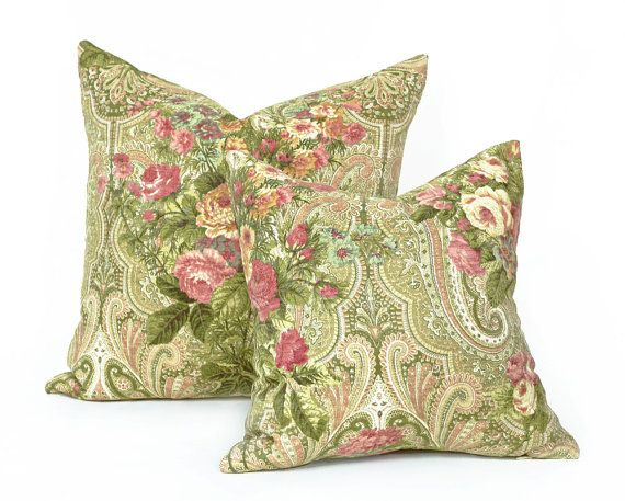 Green Pink Floral Pillow, 16x16, Unique, Eclectic Cottage Chic Throw Pillows, Decorative Sofa Pillow