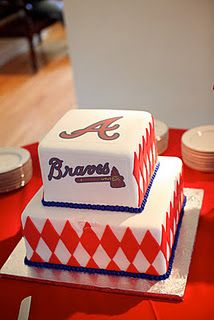 Atlanta Braves cake- good idea for dads birthday cake .....