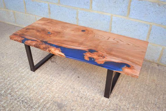 resin river coffee table, handmade natural live edge elm wood slab