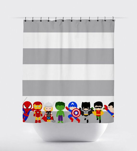 Fabric Superhero Shower Curtain. So cute for the superhero bathroom.