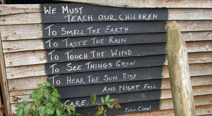 """We must teach our children"" quote about outdoor play."